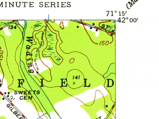 Reduced fragment of topographic map en--usgs--024k--001797--(1949)--N042-00-00_W071-22-30--N041-52-30_W071-15-00; towns and cities Attleboro, North Attleborough Center, North Seekonk