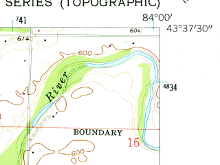 Reduced fragment of topographic map en--usgs--024k--001824--(1962)--N043-37-30_W084-07-30--N043-30-00_W084-00-00; towns and cities Auburn, Freeland