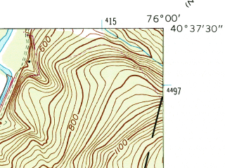 Reduced fragment of topographic map en--usgs--024k--001833--(1945)--N040-37-30_W076-07-30--N040-30-00_W076-00-00; towns and cities Auburn, Deer Lake, Port Clinton