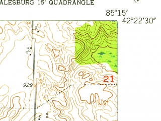 Reduced fragment of topographic map en--usgs--024k--001848--(1947)--N042-22-30_W085-22-30--N042-15-00_W085-15-00; towns and cities Augusta, Level Park