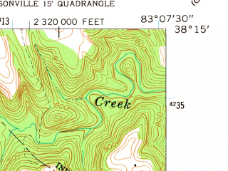 Reduced fragment of topographic map en--usgs--024k--001866--(1962)--N038-15-00_W083-15-00--N038-07-30_W083-07-30