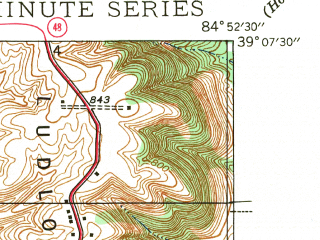 Reduced fragment of topographic map en--usgs--024k--001878--(1943)--N039-07-30_W085-00-00--N039-00-00_W084-52-30; towns and cities Aurora