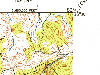 Reduced fragment of topographic map en--usgs--024k--001893--(1942)--N036-30-00_W083-52-30--N036-22-30_W083-45-00