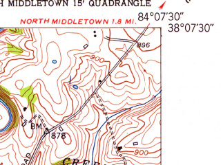 Reduced fragment of topographic map en--usgs--024k--001895--(1952)--N038-07-30_W084-15-00--N038-00-00_W084-07-30