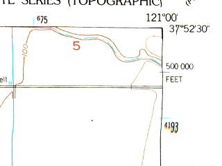 Reduced fragment of topographic map en--usgs--024k--001940--(1952)--N037-52-30_W121-07-30--N037-45-00_W121-00-00