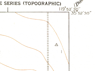 Reduced fragment of topographic map en--usgs--024k--001942--(1950)--N035-52-30_W120-00-00--N035-45-00_W119-52-30; towns and cities Devils Den