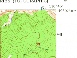 Reduced fragment of topographic map en--usgs--024k--001957--(1962)--N040-07-30_W110-52-30--N040-00-00_W110-45-00