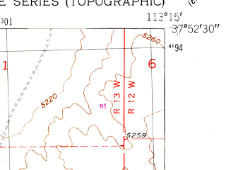 Reduced fragment of topographic map en--usgs--024k--001975--(1950)--N037-52-30_W113-22-30--N037-45-00_W113-15-00