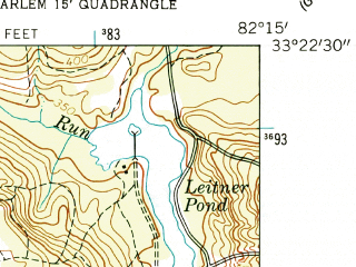 Reduced fragment of topographic map en--usgs--024k--001978--(1957)--N033-22-30_W082-22-30--N033-15-00_W082-15-00
