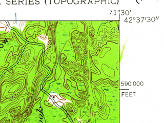 Reduced fragment of topographic map en--usgs--024k--001998--(1950)--N042-37-30_W071-37-30--N042-30-00_W071-30-00; towns and cities Fort Devens, Ayer, Groton