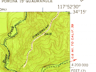 Reduced fragment of topographic map en--usgs--024k--002028--(1953)--N034-15-00_W118-00-00--N034-07-30_W117-52-30; towns and cities Duarte, Monrovia, Azusa, Bradbury