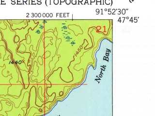 Reduced fragment of topographic map en--usgs--024k--002034--(1951)--N047-45-00_W092-00-00--N047-37-30_W091-52-30; towns and cities Babbitt