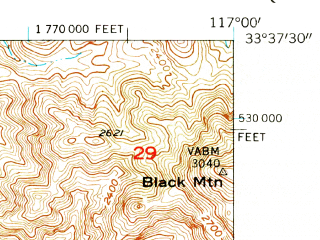 Reduced fragment of topographic map en--usgs--024k--002050--(1953)--N033-37-30_W117-07-30--N033-30-00_W117-00-00 in area of Skinner Reservoir