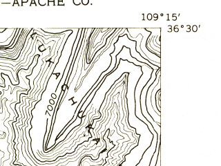 Reduced fragment of topographic map en--usgs--024k--002069--(1955)--N036-30-00_W109-22-30--N036-22-30_W109-15-00; towns and cities Lukachukai