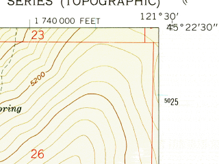 Reduced fragment of topographic map en--usgs--024k--002087--(1962)--N045-22-30_W121-37-30--N045-15-00_W121-30-00