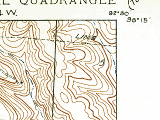 Reduced fragment of topographic map en--usgs--024k--002122--(1934)--N038-15-00_W092-37-30--N038-07-30_W092-30-00; towns and cities Bagnell, Lakeside