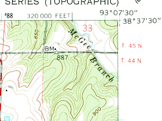 Reduced fragment of topographic map en--usgs--024k--002124--(1961)--N038-37-30_W093-15-00--N038-30-00_W093-07-30