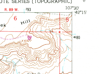Reduced fragment of topographic map en--usgs--024k--002159--(1961)--N042-15-00_W107-37-30--N042-07-30_W107-30-00; towns and cities Bairoil