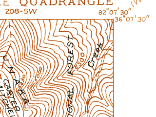 Reduced fragment of topographic map en--usgs--024k--002197--(1934)--N036-07-30_W082-15-00--N036-00-00_W082-07-30; towns and cities Bakersville