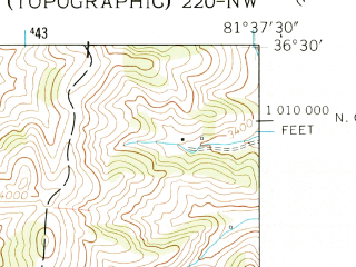 Reduced fragment of topographic map en--usgs--024k--002236--(1959)--N036-30-00_W081-45-00--N036-22-30_W081-37-30
