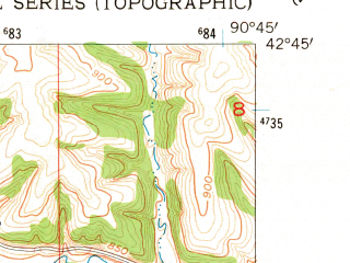Reduced fragment of topographic map en--usgs--024k--002279--(1955)--N042-45-00_W090-52-30--N042-37-30_W090-45-00; towns and cities Balltown