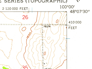 Reduced fragment of topographic map en--usgs--024k--002290--(1958)--N048-07-30_W100-07-30--N048-00-00_W100-00-00 in area of Girard Lake