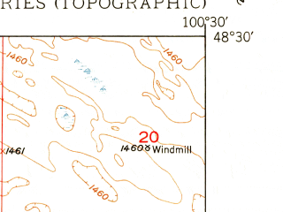 Reduced fragment of topographic map en--usgs--024k--002356--(1950)--N048-30-00_W100-37-30--N048-22-30_W100-30-00; towns and cities Bantry