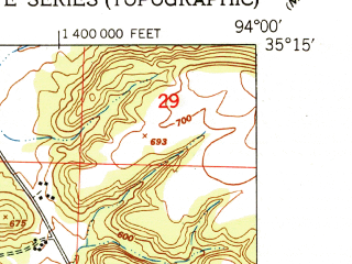 Reduced fragment of topographic map en--usgs--024k--002376--(1951)--N035-15-00_W094-07-30--N035-07-30_W094-00-00
