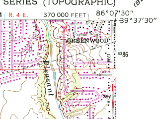 Reduced fragment of topographic map en--usgs--024k--002400--(1962)--N039-37-30_W086-15-00--N039-30-00_W086-07-30; towns and cities Bargersville