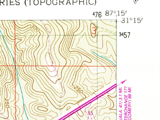 Reduced fragment of topographic map en--usgs--024k--002449--(1960)--N031-15-00_W087-22-30--N031-07-30_W087-15-00