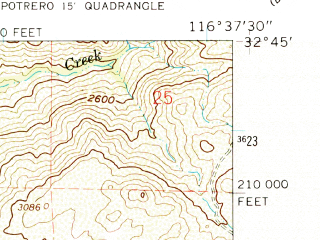 Reduced fragment of topographic map en--usgs--024k--002481--(1960)--N032-45-00_W116-45-00--N032-37-30_W116-37-30 in area of Barrett Lake