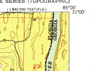 Reduced fragment of topographic map en--usgs--024k--002548--(1952)--N031-00-00_W085-07-30--N030-52-30_W085-00-00; towns and cities Bascom