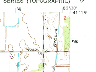 Reduced fragment of topographic map en--usgs--024k--002574--(1962)--N041-15-00_W086-37-30--N041-07-30_W086-30-00 in area of Bass Lake