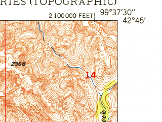 Reduced fragment of topographic map en--usgs--024k--002581--(1950)--N042-45-00_W099-45-00--N042-37-30_W099-37-30