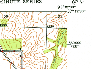 Reduced fragment of topographic map en--usgs--024k--002586--(1946)--N037-22-30_W093-15-00--N037-15-00_W093-07-30 in area of Fellows Lake