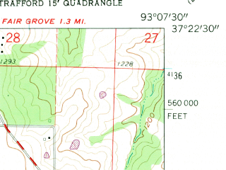 Reduced fragment of topographic map en--usgs--024k--002586--(1961)--N037-22-30_W093-15-00--N037-15-00_W093-07-30 in area of Fellows Lake