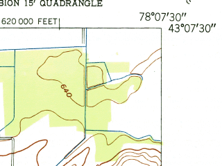 Reduced fragment of topographic map en--usgs--024k--002604--(1951)--N043-07-30_W078-15-00--N043-00-00_W078-07-30; towns and cities Elba