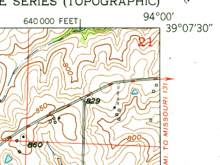 Reduced fragment of topographic map en--usgs--024k--002613--(1951)--N039-07-30_W094-07-30--N039-00-00_W094-00-00; towns and cities Bates City