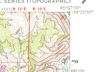 Reduced fragment of topographic map en--usgs--024k--002625--(1961)--N039-22-30_W085-15-00--N039-15-00_W085-07-30; towns and cities Batesville, Oldenburg