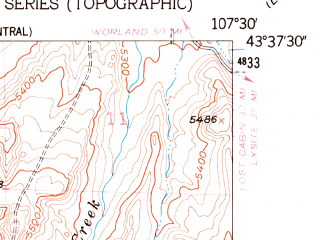 Reduced fragment of topographic map en--usgs--024k--002661--(1952)--N043-37-30_W107-37-30--N043-30-00_W107-30-00