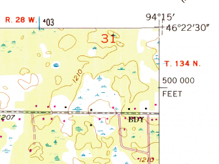 Reduced fragment of topographic map en--usgs--024k--002683--(1954)--N046-22-30_W094-22-30--N046-15-00_W094-15-00; towns and cities Baxter
