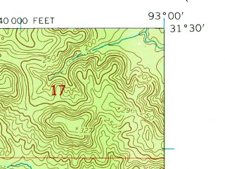Reduced fragment of topographic map en--usgs--024k--002750--(1954)--N031-30-00_W093-07-30--N031-22-30_W093-00-00