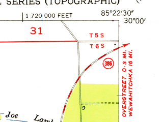 Reduced fragment of topographic map en--usgs--024k--002774--(1956)--N030-00-00_W085-30-00--N029-52-30_W085-22-30; towns and cities Mexico Beach