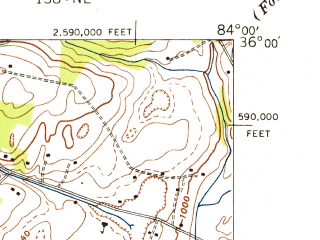 Reduced fragment of topographic map en--usgs--024k--002861--(1940)--N036-00-00_W084-07-30--N035-52-30_W084-00-00; towns and cities Karns