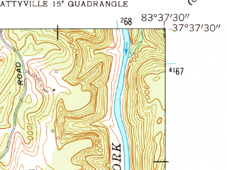 Reduced fragment of topographic map en--usgs--024k--002892--(1961)--N037-37-30_W083-45-00--N037-30-00_W083-37-30; towns and cities Beattyville