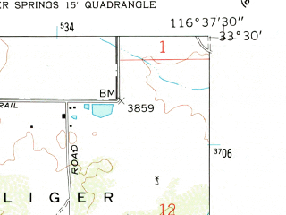 Reduced fragment of topographic map en--usgs--024k--002911--(1960)--N033-30-00_W116-45-00--N033-22-30_W116-37-30