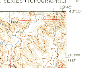 Reduced fragment of topographic map en--usgs--024k--002925--(1958)--N040-15-00_W099-52-30--N040-07-30_W099-45-00; towns and cities Beaver City