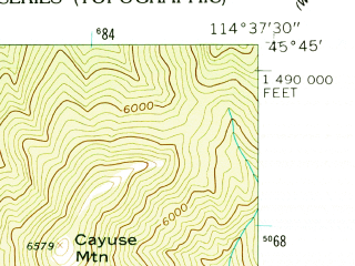 Reduced fragment of topographic map en--usgs--024k--002943--(1962)--N045-45-00_W114-45-00--N045-37-30_W114-37-30