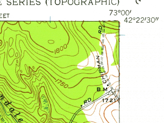 Reduced fragment of topographic map en--usgs--024k--002983--(1945)--N042-22-30_W073-07-30--N042-15-00_W073-00-00