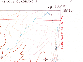 Reduced fragment of topographic map en--usgs--024k--002993--(1958)--N038-15-00_W105-37-30--N038-07-30_W105-30-00